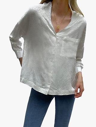 French Connection Chofa Jacquard V-Neck Shirt, Winter White