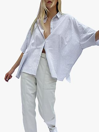 French Connection Aashi Stripe Shirt, Linen White/Grey