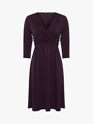 French Connection Leticia Slinky Jersey V-Neck Dress, Dark Decadence
