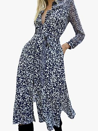 French Connection Areita Abstract Print Shirt Dress, Indigo/Multi