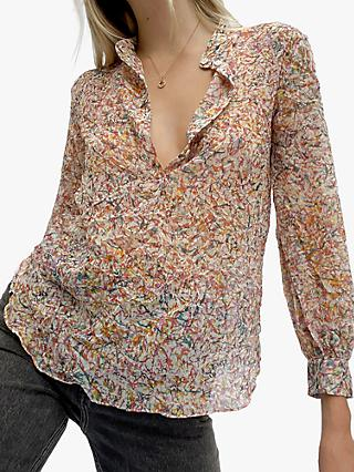 French Connection Baja Crinkle Blouse, Multi