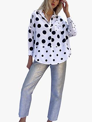 French Connection Alanga Spot Print Shirt, White/Black