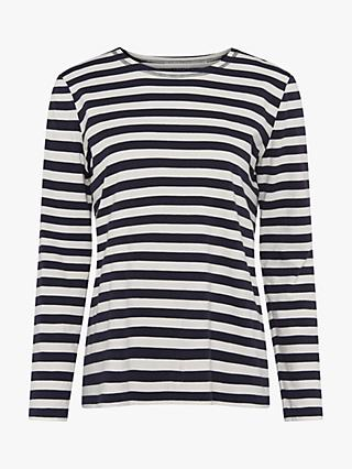 French Connection Melisa Stripe Cotton Jersey T-Shirt, Utility Blue/Cream