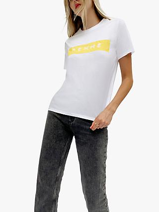 French Connection Femme Boyfriend Fit T-Shirt, White/Yellow