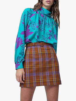 French Connection Arina Floral Top, Pepper Green/Tyrian Purple