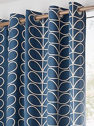Orla Kiely Linear Stem Pair Lined Eyelet Curtains, Whale