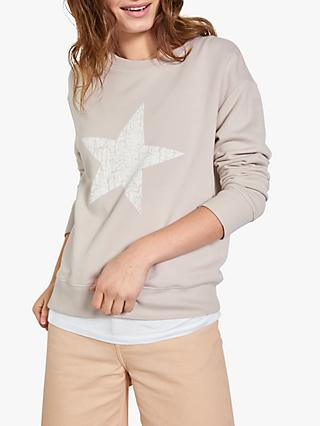 hush Crackle Star Graphic Sweatshirt, White