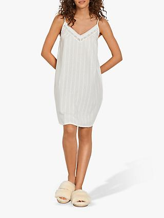 hush Broderie Chemise Textured Nightdress, White