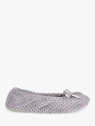 Totes Memory Foam Popcorn Ballet Slippers, Pale Grey