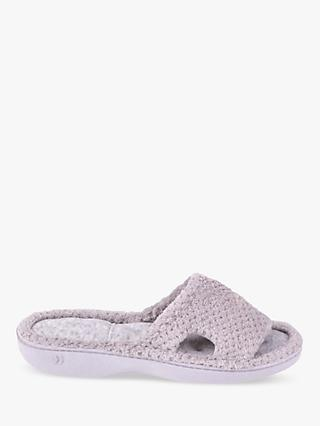 Totes Memory Foam Cut Out Popcorn Slippers, Pale Grey