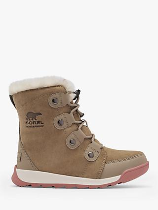 SOREL Junior Whitney II Waterproof Suede Snow Boots, Khaki