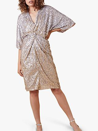 Monsoon Samba Embellished Midi Dress, Gold