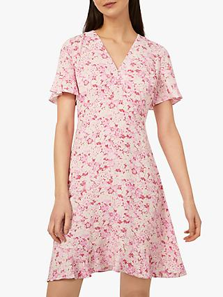 Warehouse Floral Print Angel Sleeve Mini Dress, Pink