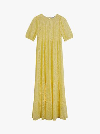 Warehouse Tiered Lace Puff Sleeve Dress, Yellow