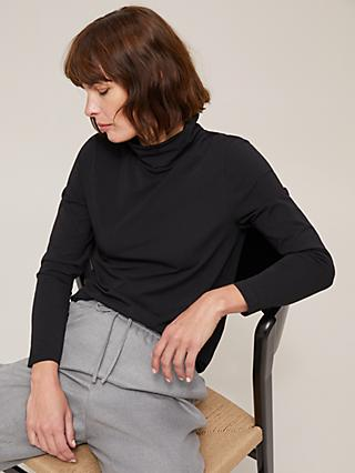 John Lewis & Partners Stretch Cotton Blend Roll Neck Top