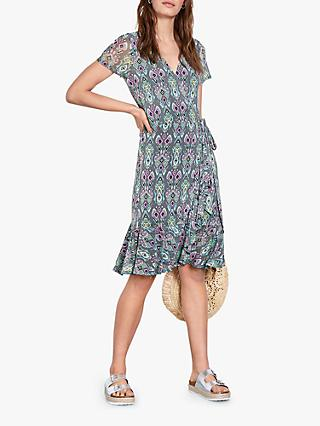 hush Abstract Print Jersey Wrap Dress, Ebony Ikat