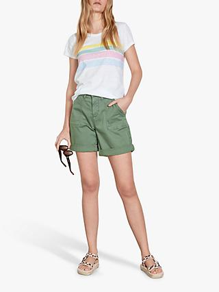 hush Rainbow Stripe T-Shirt, White/Multi/Pastel