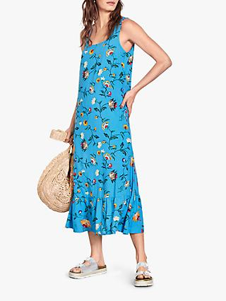 hush Avner Floral Print Midi Dress, Blue/Multi
