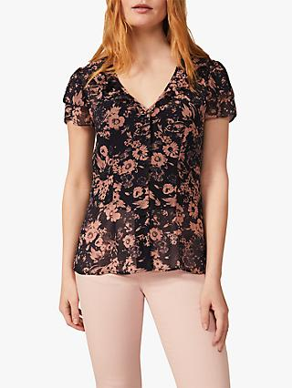 Phase Eight Verena Chiffon Floral Blouse, Navy/Pink