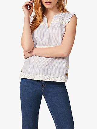 Phase Eight Lace Stripe Blouse, Blue/White