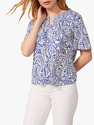 Phase Eight Samaya Paisley Top, Ivory/Cobalt