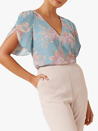 Forever New Savanna Blossom Print Petal Sleeve Wrap Blouse, Multi