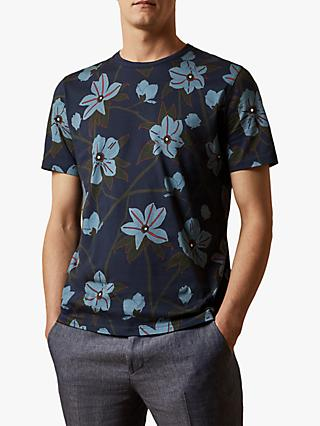 Ted Baker Merican Floral Print Cotton T-Shirt, Navy