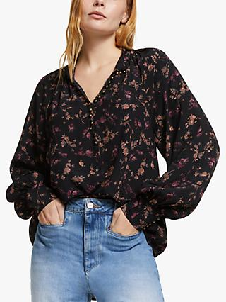 AND/OR Ivy Autumn Floral Blouse, Black