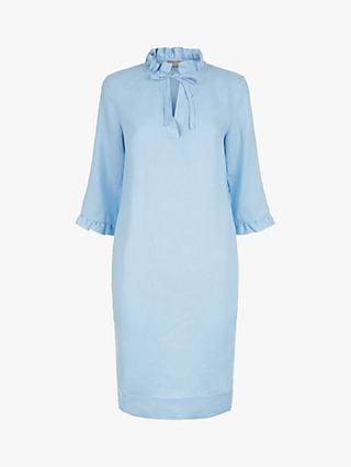Jaeger Pie Crust Collar Linen Dress, Light Blue
