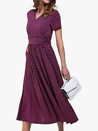 Jolie Moi Tie Neck Short Sleeve Geo Print Dress, Pink Geo