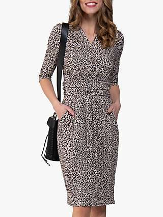 Jolie Moi Leopard Wrap Front Tulip Dress, Beige