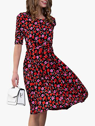 Jolie Moi Floral Print Ruched Sleeve Maxi Dress, Red Floral