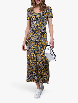 Jolie Moi Floral Print A-Line Maxi Dress, Yellow/Black