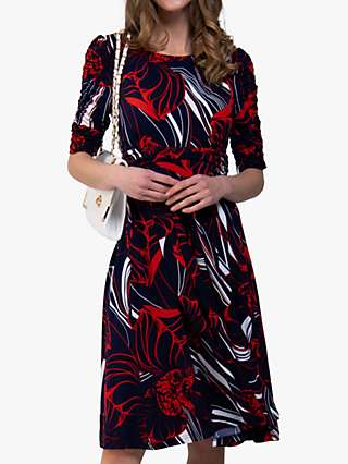 Jolie Moi Ruched Sleeve Swirl Print Jersey Midi Dress, Navy Abstract