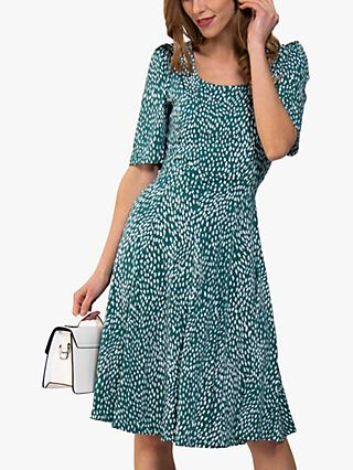 Jolie Moi Scoop Neck Swing Dress, Green Animal