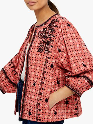 Monsoon Lilla Floral Embroidered Jacket, Coral