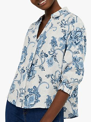 Monsoon Esther Floral Blouse, Neutral