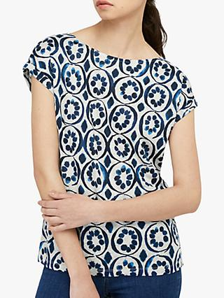 Monsoon Lourde Linen Abstract Top, Blue