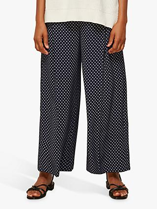 Whistles Circle Spot Crepe Trousers, Navy