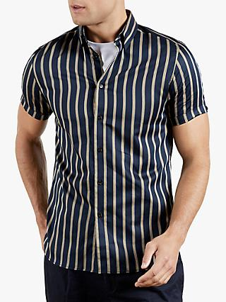 Ted Baker Freud Stripe Short Sleeve Shirt, Navy/Yellow