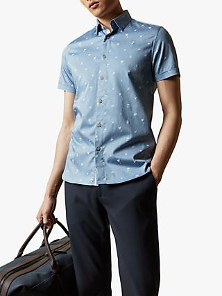 Ted Baker Lengthn Tropical Print Short Sleeve Shirt, Mid Blue