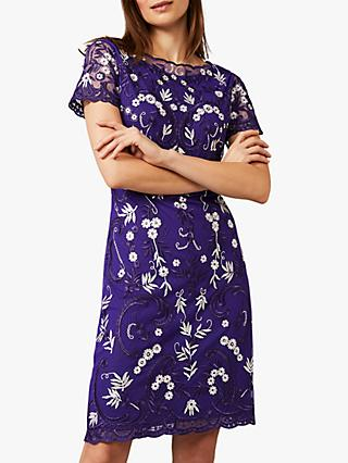 Phase Eight Floris Floral Embroidered Knee Length Dress, Electric Blue/Ivory