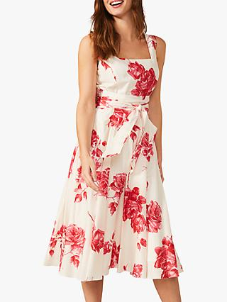 Phase Eight Elfrida Floral Print Fit and Flare Dress, Ivory/Lipstick