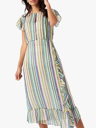 Brora Striped Silk Chiffon Frill Dress, Rainbow