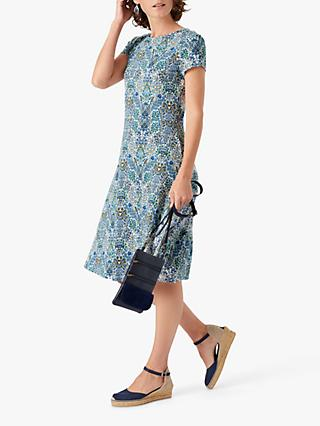 Brora Liberty Periwinkle Bird Print Jersey Dress, Multi