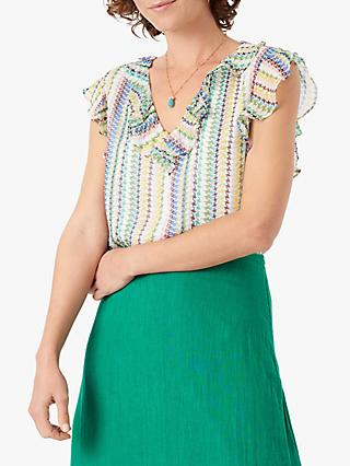 Brora Striped Silk Chiffon Frill Shell Top, Rainbow