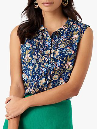 Brora Liberty Botanical Lake Print Sleeveless Shirt, Navy/Multi