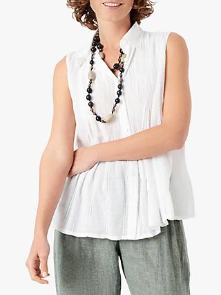 Brora Organic Cotton Sleeveless Blouse, White