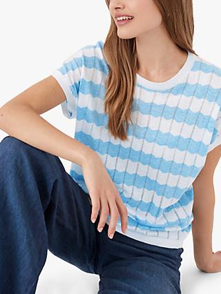 Brora Cotton Zig Zag Stripe Top, Sky