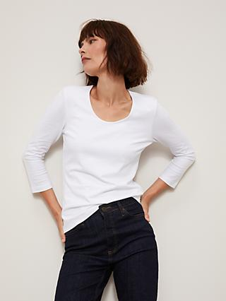 John Lewis & Partners Double Fronted 3/4 Sleeve Top